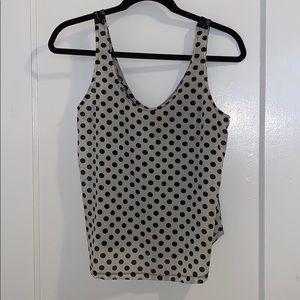 Black & white polka dot lace back tank top